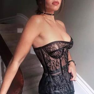 """NEW! Sheer  """"Corset"""" Bustier Lace Top"""